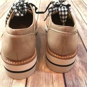 Zara Shoes - Zara NWT Derby Faux Patent Leather Shoes Gingham